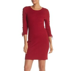 Nina Leonard Lace Up Sleeve Rib Knit Sweater Dress